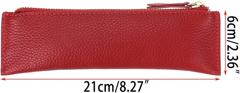 Trousse /à crayons et stylos vintage douce en cuir v/éritable Btsky Pour les /étudiants hommes d/'affaires et artistes Red