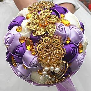 FYSTORE Bridal Bouquets for Wedding,Bride Bridesmaids Bouquet Crystal Rhinestone Brooch Wedding Bouquets Brides Bridesmaids Hand Holding Flower 18cm/ 7 inch 98