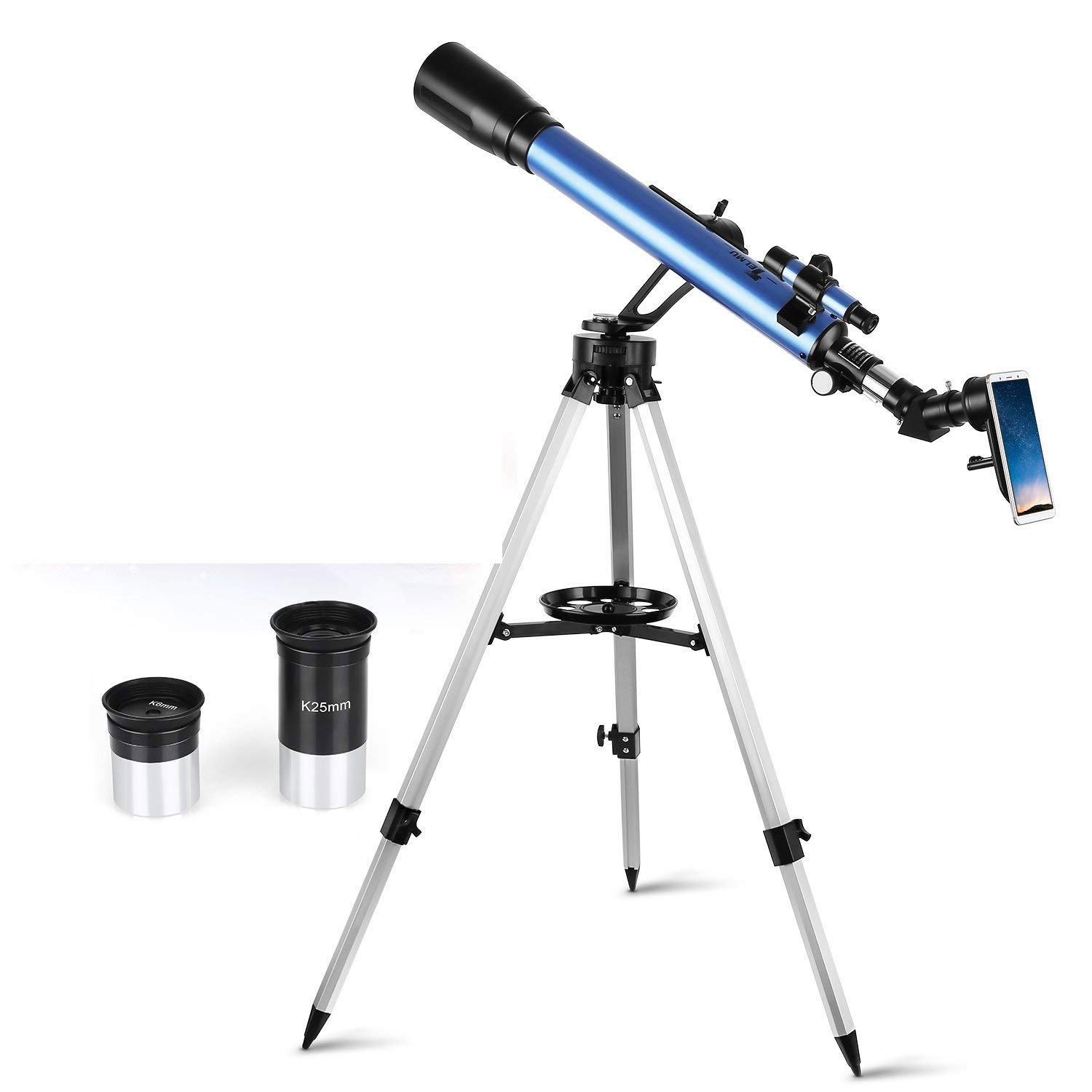 TELMU Telescope, 60mm Aperture & 700mm Focal Length (27.5In-46.5In) Astronomical Refractor Telescope with Adjustable Tripod & & Finder Scope- Portable Travel Telescope Perfect for Kids Children