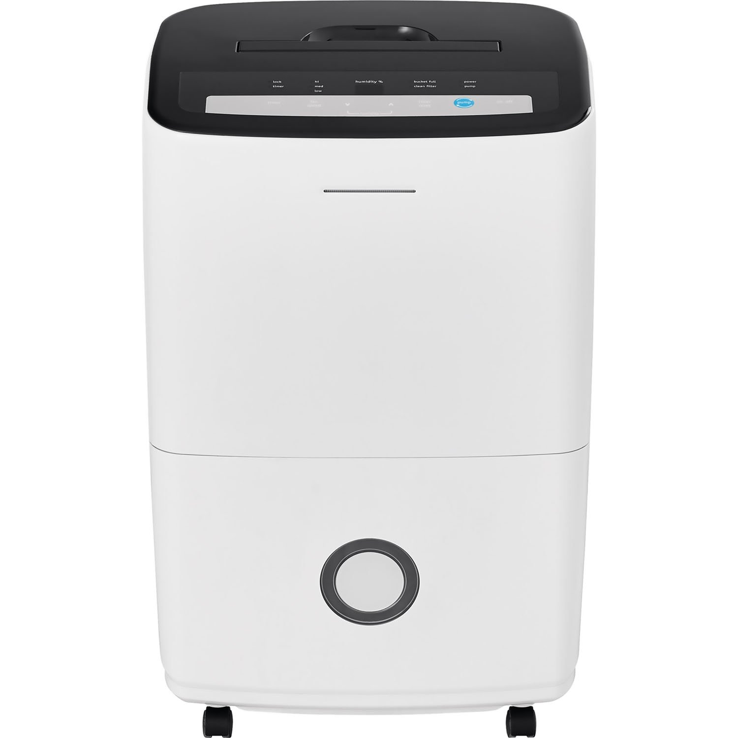 FRIGIDAIRE FFAP7033T1 70 13.1-Pint Bucket Capacity, Mesh Filter and Effortless Humidity Control Dehumidifier with Built-in Pump in White,