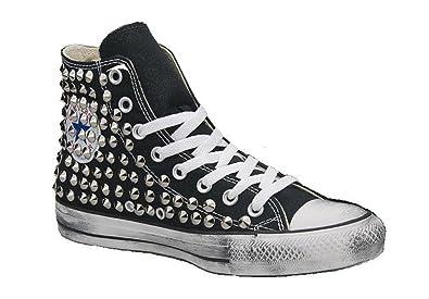 a79894f137a70 Converse All Star Noir personnalisé cloutée (Chaussures a la Main) Couleur  Argent Vintage