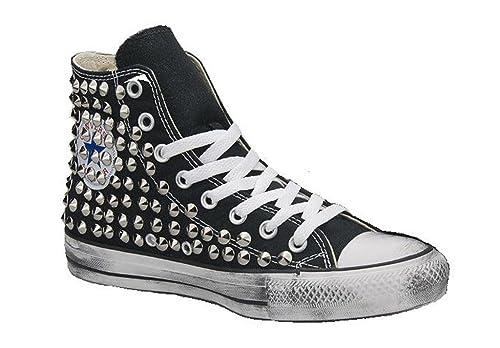 0f930a371e Converse All Star nera borchiate (artigianali) con borchie punta cono  argento effetto invecchiato: Amazon.it: Scarpe e borse