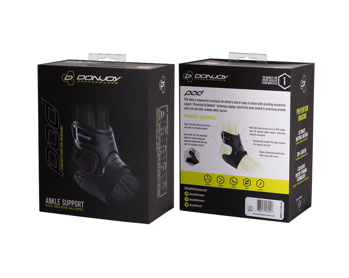 DonJoy Performance POD Ankle Brace, Best Support for Stability, Ankle Sprain, Roll, Strains for Football, Soccer, Basketball, Lacrosse, Volleyball -Medium- Right - Black by DonJoy Performance (Image #6)