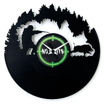 Horloge murale « chasseur et arme » en vinyle - idée cadeau  Amazon ... 390cf7ed9ec0