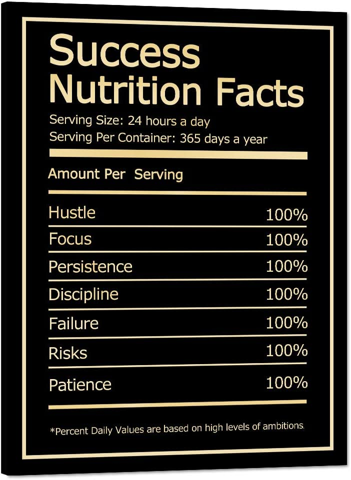 """Inspirational Wall Art Inspiring Pictures Inspiration Motivation Quotes Canvas Painting Success Nutrition Facts Motivational Posters Prints Artwork Home Decor for Office Ready to Hang (30""""Wx40""""H)"""