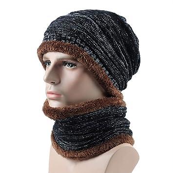 5bd23bff13e IBLUELOVER Bonnet Écharpe Homme Femme Hiver 2Pcs Ensemble Tour de Cou  Chauffant Chapeau en Tricot de