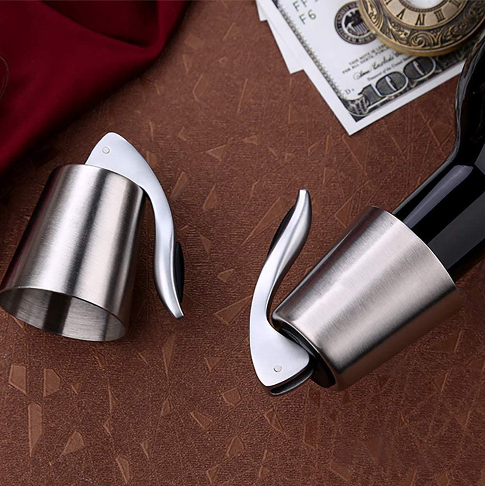 Keeps Wine Fresh- 1 PACK Wine Stopper SaikerMan Stainless Steel Wine Bottle Plug Saver Reusable Vacuum Rubber Sealer