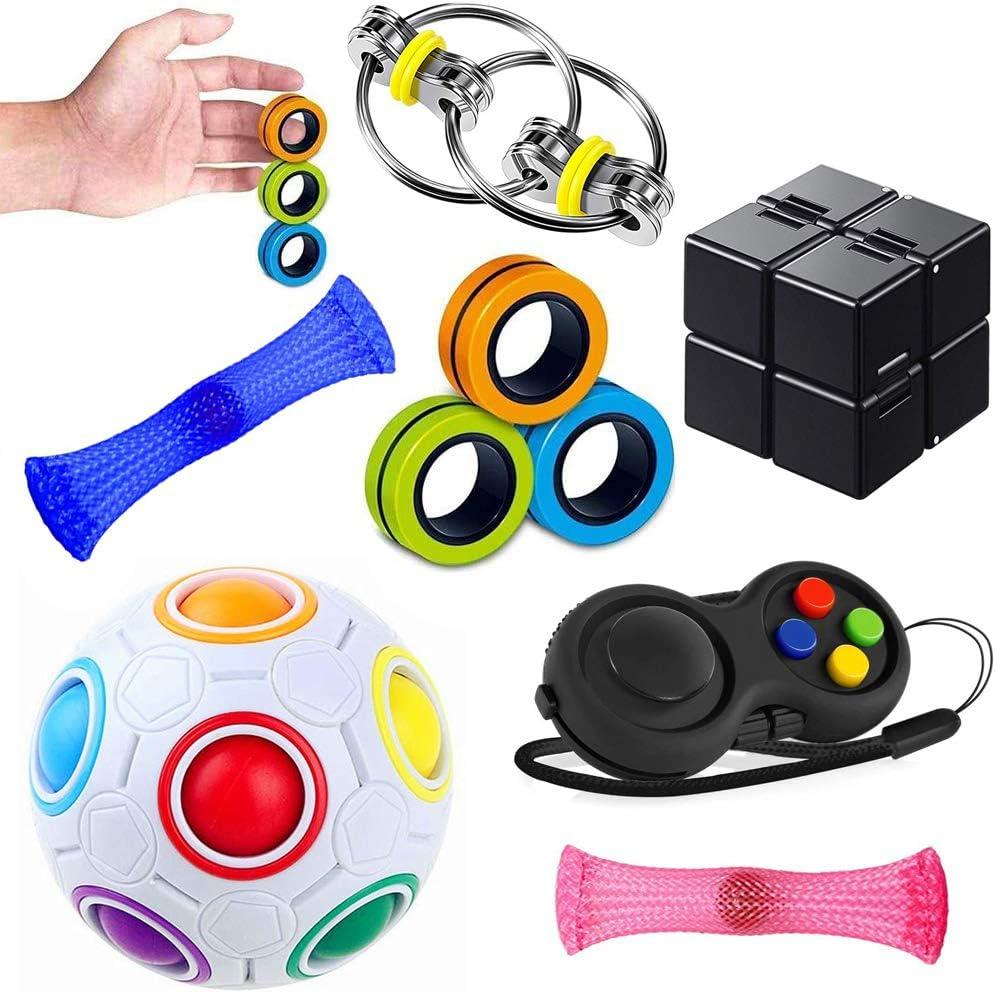 Push Pop Bubble,Sensory Toys Set Fidget Toy Autism Special Needs Stress Reliever Toys Silicone Desk Toys Squeeze Toy Handheld Fidget Gadget Fidget Pad,Infintiyc Cube,Fidget Toys Set