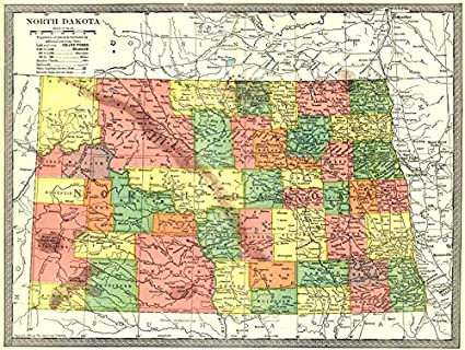 Amazon.com: NORTH DAKOTA state map. Counties - 1907 - old map ...