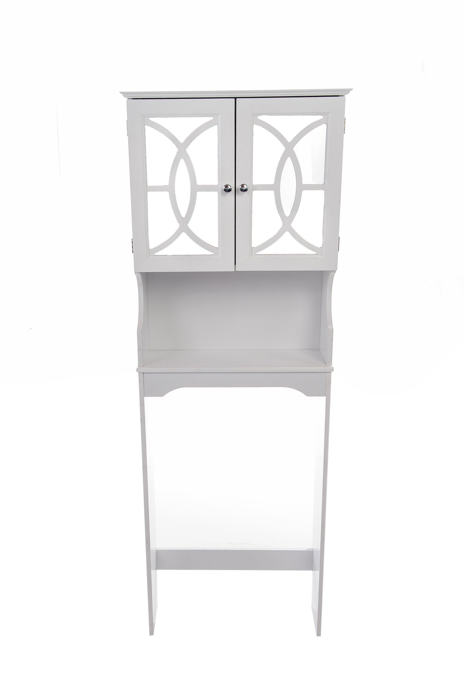 Home Source Industries 5196 Bathroom Space Saver with Shelf and 2-Door Mirrored Cabinet, White