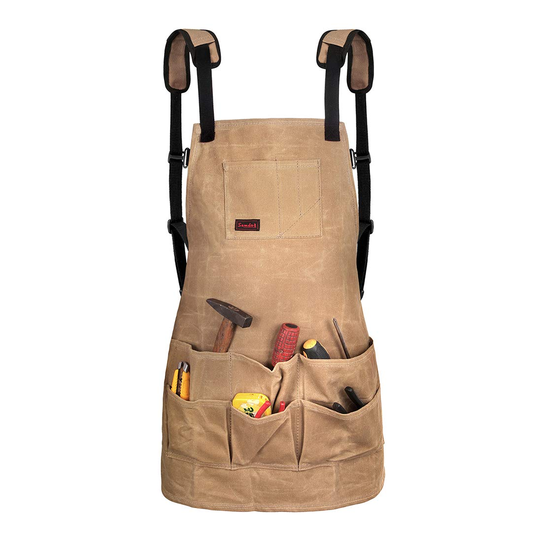 Samdo Water Resistant Waxed Canvas Tool Apron With Quick Release Buckle Adjustable Size