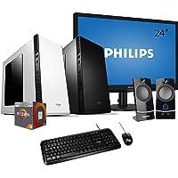 """Pc desktop completo Amd Ryzen quadcore,Ram 8gb Ddr4,Ssd 240 gb,Windows 10 pro,Monitor 24"""" con accessori Computer fisso assemblato ufficio casa desktop ryzen"""