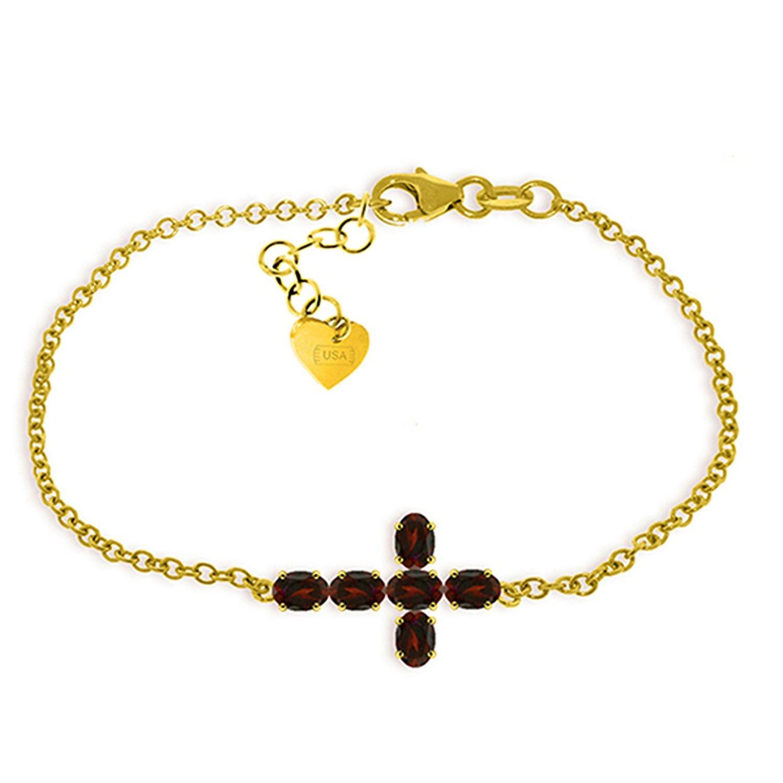 ALARRI 1.7 Carat 14K Solid Gold Cross Bracelet Natural Garnet Size 8.5 Inch Length