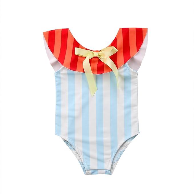 Amazon.com: Bebé recién nacido niña Bañador volantes traje ...