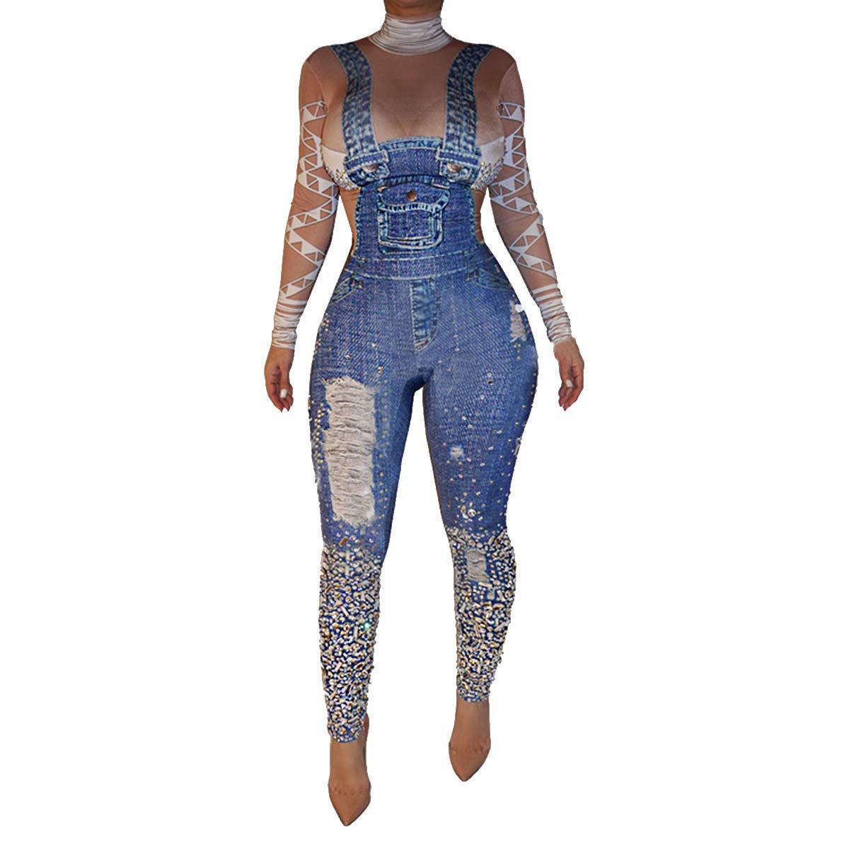 f7516a37cccd Amazon.com  Women s Sexy Bodycon Jumpsuit Long Sleeve Tops Ripped Diamond  Printed High Waisted Skinny Pants One Piece Romper Plus Size  Clothing