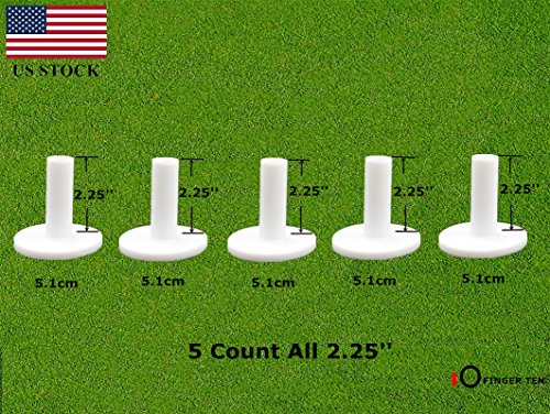 FINGER TEN Golf Rubber Tees Driving Range Value 5 Pack, Mixed Size or 5 Same Size for Practice Mat (5 Pack All 2.25'')