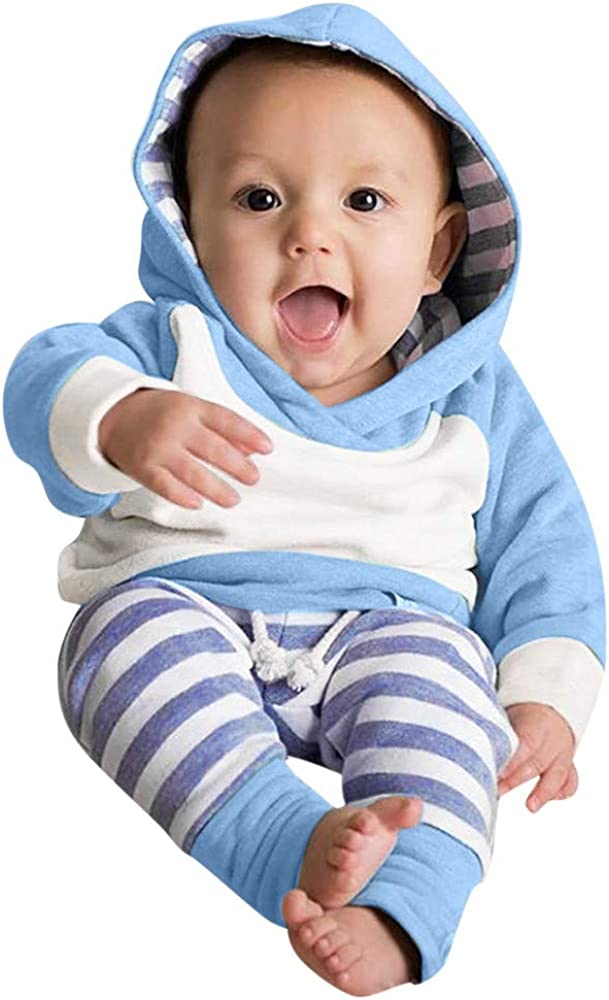 Ropa bebé, 3pcs Conjunto de Ropa para bebé niñas Sudadera con Capucha Tops+ Pantalones + Diadema Conjunto de Trajes 0 Mes - 2 Años (Azul, Tamaño:3 Mes)