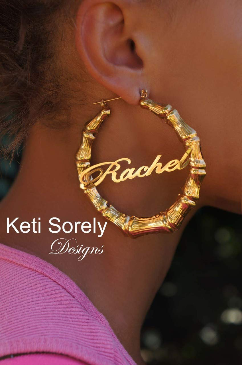 Large Bamboo Earrings with Nameplate Yellow Gold Hoops