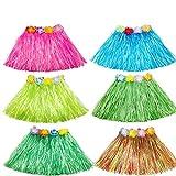 MarJunSep 6 Pack Kid's Elastic Hawaiian Luau Hula Dancer Grass Skirts(30CM)