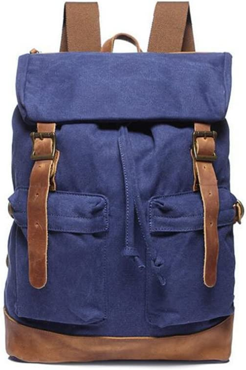 DABUOY Men and Women Outdoor Leisure Canvas Backpack Cotton Wash Shoulder Bag Large Capacity Mens Mountaineering Bag,Navyblue