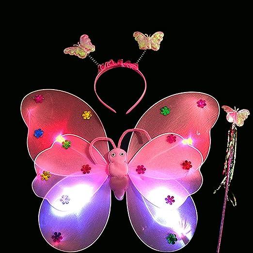 FAVOLOOK LED Mariposa alas, 3pcs luz Intermitente Hada Mariposa ...