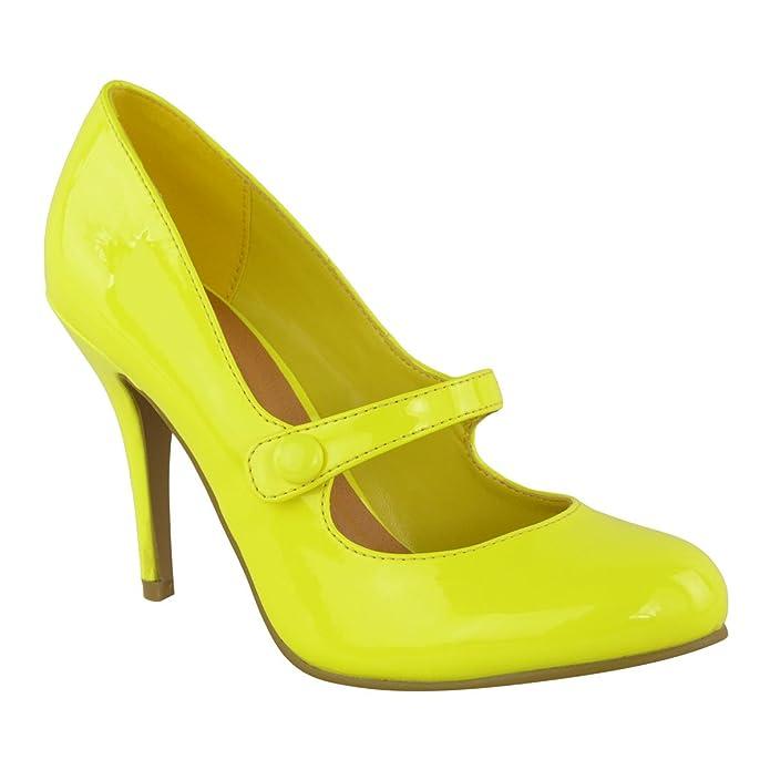 Tacones baratos de color amarillo fosforito