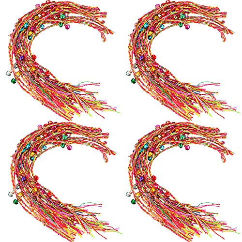 Pangda 60 Pieces Handmade Braided Bracelets with Bell, Colorful Thread Friendship Bracelet Assorted Colors for Wrist Anklet Christmas Gift for Girls, Random Color ()
