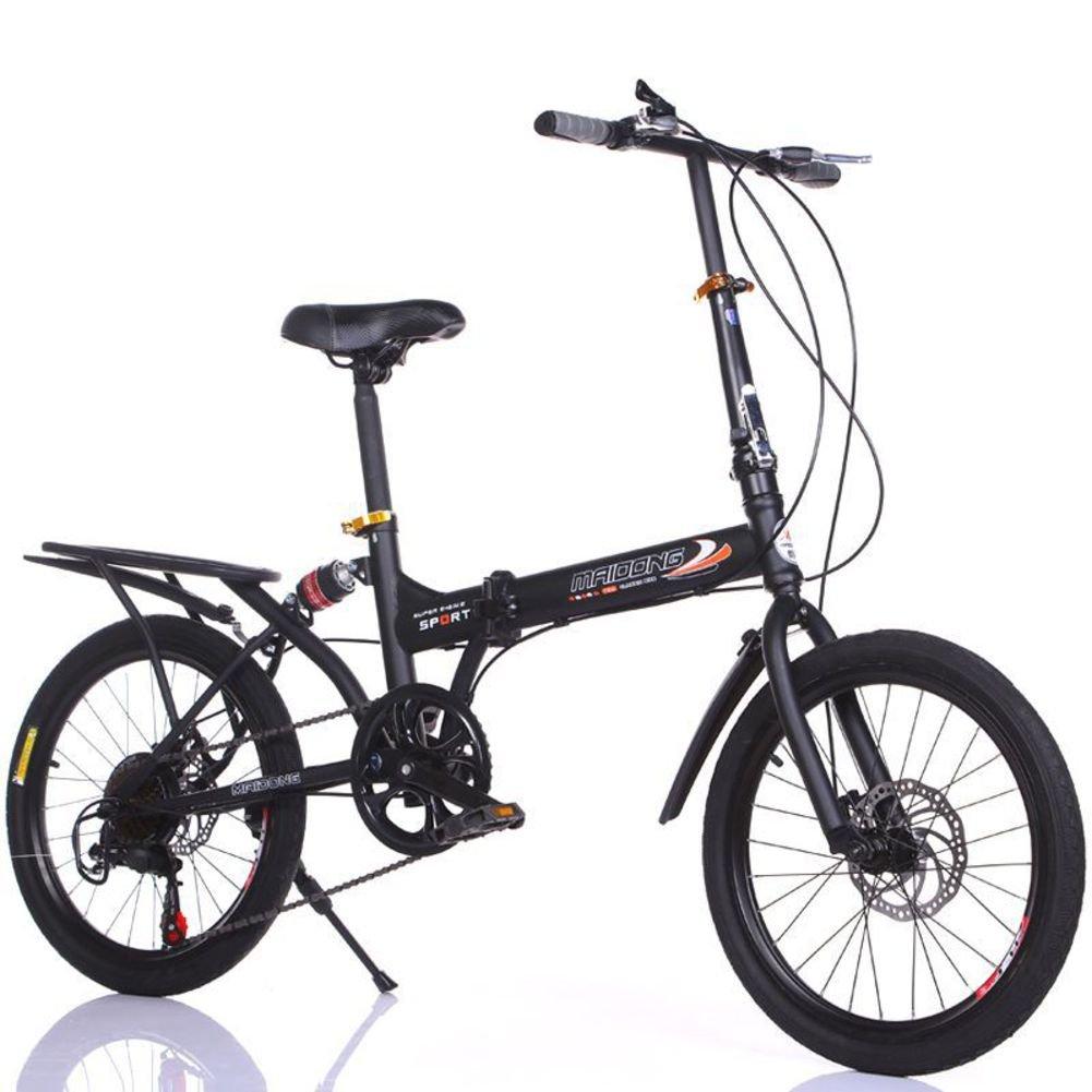 学生折りたたみ自転車, 子供用折りたたみ自転車 変数 6 速 シマノ 男性と女性 山 ギフト 大人 折りたたみ自転車 折り畳み自転車 B07DGG977V黒 20inch