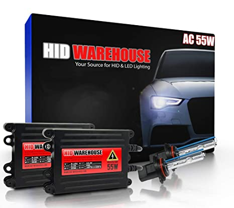 2 Year Warranty 5K Bright White H11 5000K XtremeVision 55W AC Xenon HID Lights with Premium Slim AC Ballast