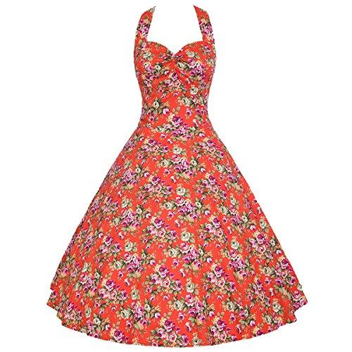 Moollyfox Mujer Retro Halter 1950s Audrey Hepburn Cabestro Cuello Floral Pin-up Oscilación Cóctel Vestido Rojo Rose