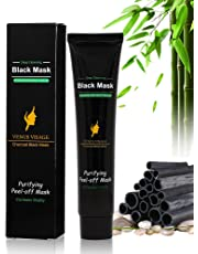 Venus Visage Black Mask,Blackhead Remover Mask,Purifying Peel-off Mask with Activated Charcoal,Deep Cleansing Facial Mask,Shrinking Pores,Brighten Skin,1 tube 60g