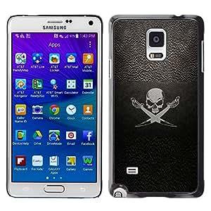 LECELL--Funda protectora / Cubierta / Piel For Samsung Galaxy Note 4 SM-N910 -- Pirate Symbol Sign Skull Swords Ship Sail --