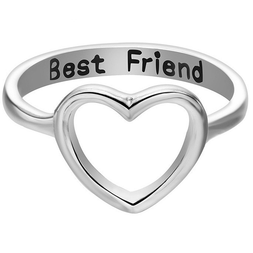 Alalaso Simple Hollow Heart Ring Fashion Best Friends Jewelry Ring Friendship Letter Jewelry Accessories (Silver,7)
