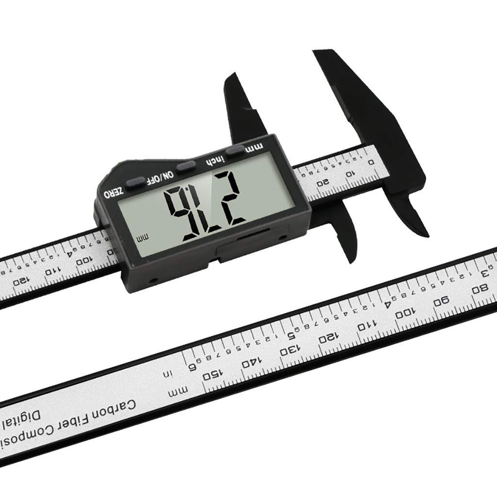 Digital Caliper, Cleanrance!!! 150mm 6'' LCD Digital Electronic Carbon Fiber Vernier Caliper Gauge Micrometer(Black)
