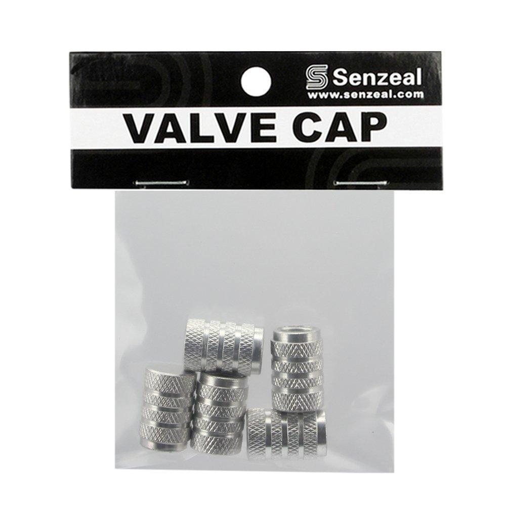 Senzeal 5x Aluminum Alloy Round Style Car Tire Valve Stem Caps Silver