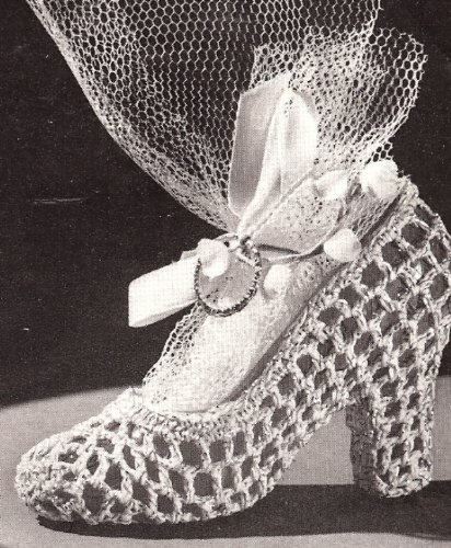 Vintage Crochet PATTERN to make - High Heel Slipper Shoe Bridal Favor. NOT a finished item. This is a pattern and/or instructions to make the item only.