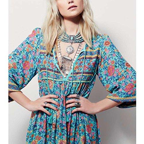 Imprimer Boho Femmes Robe Manches Femme Parti Robe Soire Bleu Robe t Dames Vetement Floral Maxi Longue Beikoard Robes Longues Femme Y1w8zPq