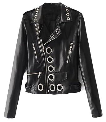 ee1a407cebd Generic Women s Holes Open Front Faux Leather Moto Jacket Cardigan Black M