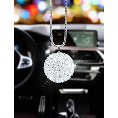 Alonar White Ball Bling Car Rear View Mirror Charms Decor,Hanging Interior Ornament Pendant Sun Catch Car Pendant (White Ball): Automotive