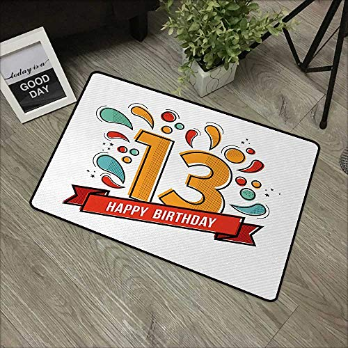 Red Line Xiii Game - Door mat W31 x L47 INCH 13th Birthday,Modern Line Art Style Greeting for Thirteen Years Old Artsy Geometric Design,Multicolor Non-Slip, with Non-Slip Backing,Non-Slip Door Mat Carpet