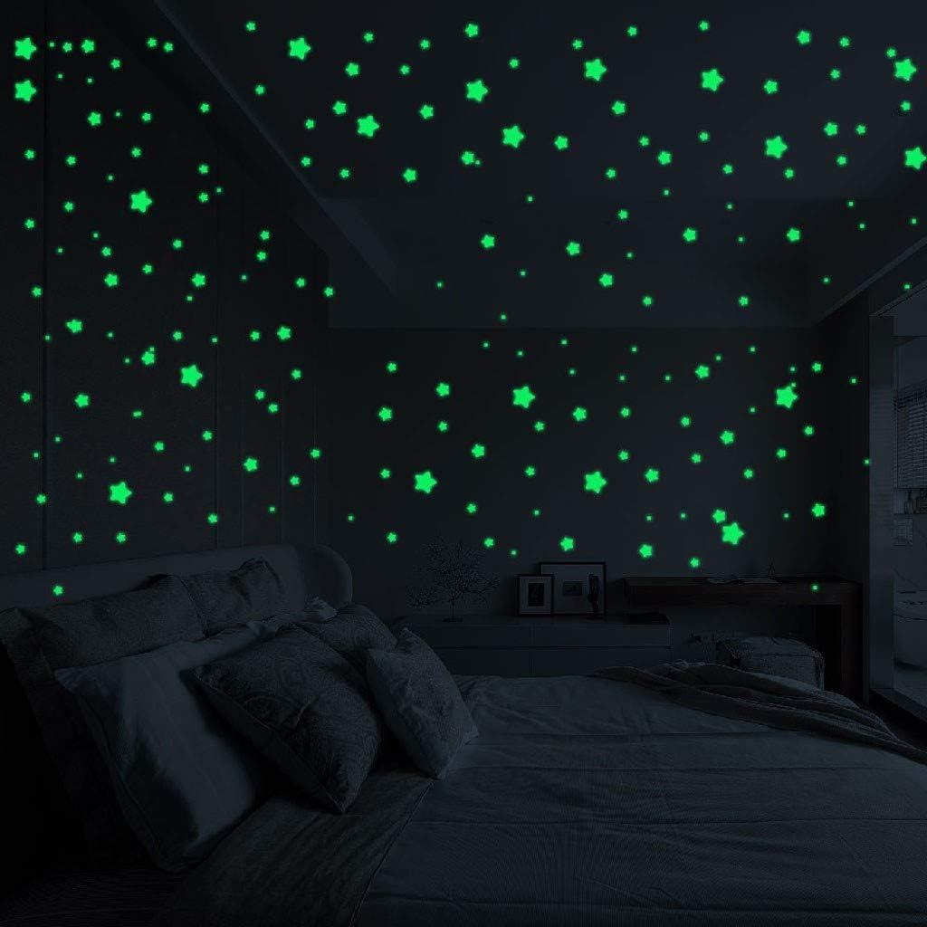 YWLINK Estrellas 3D Resplandor En La Oscuridad Luminosa Fluorescente Pegatinas De Pared Decoraciones De Habitaciones: Amazon.es: Hogar