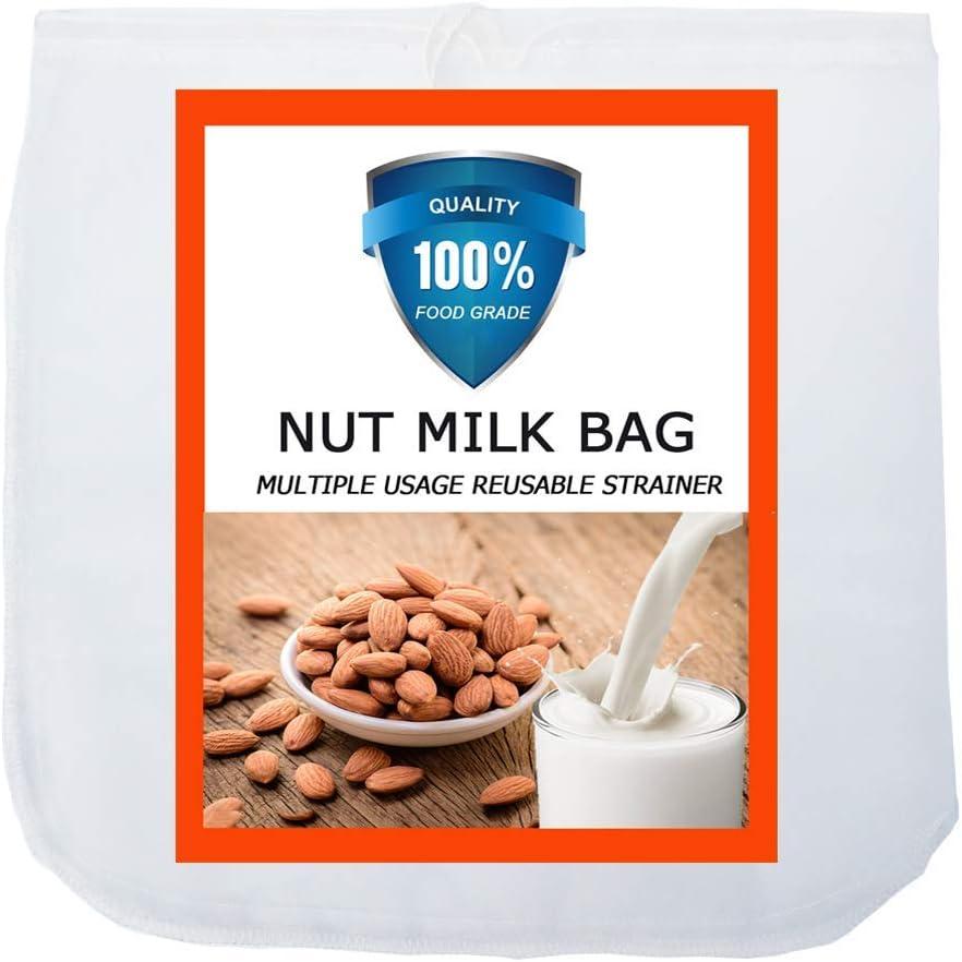 Carrollar Nut Milk Bag, Pro Quality Multiple Usage Reusable Food Strainer, Cold Brew Coffee Bag Cheese Cloth, Ultra Fine Nylon Mesh Food Grade BPA-Free for Milk, Juice, Coffee, Tea, 12