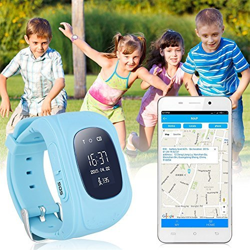 JUNEO GPS Tracker Smartwatch Anti Lost SOS Call Wristwatch Children Finder Fitness Pedometer Wristwatch SOS Calling Location Remote Monitor Q50 (Blue)