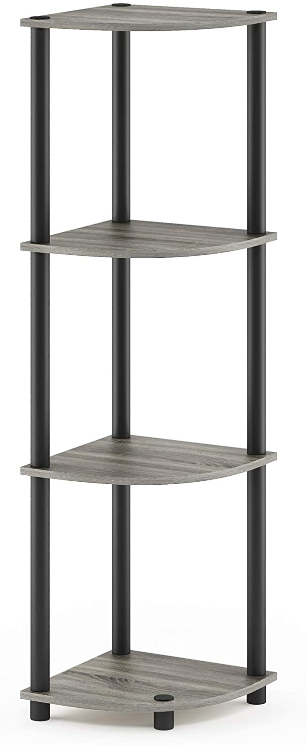 Furinno Turn-N-Tube 4-Tier Corner Display Rack Multipurpose Shelving Unit, French Oak Grey/Black