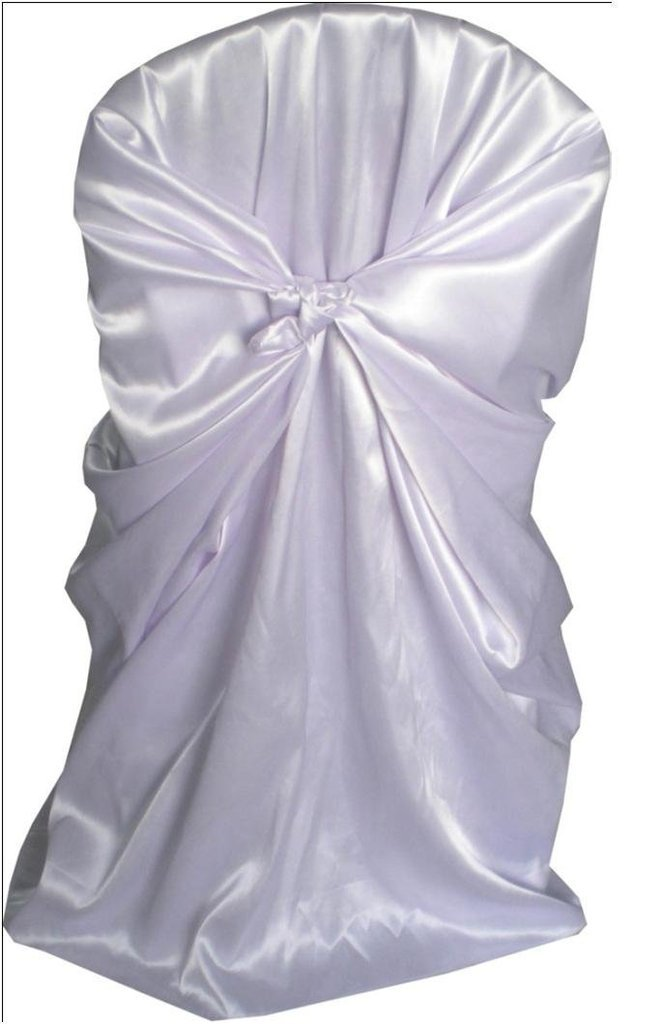 ONLINE WEDDING SUPPLY Polyester Satin Universal Self Tie Back Chair Cover Banquet Venue Decoration White 10 Pack