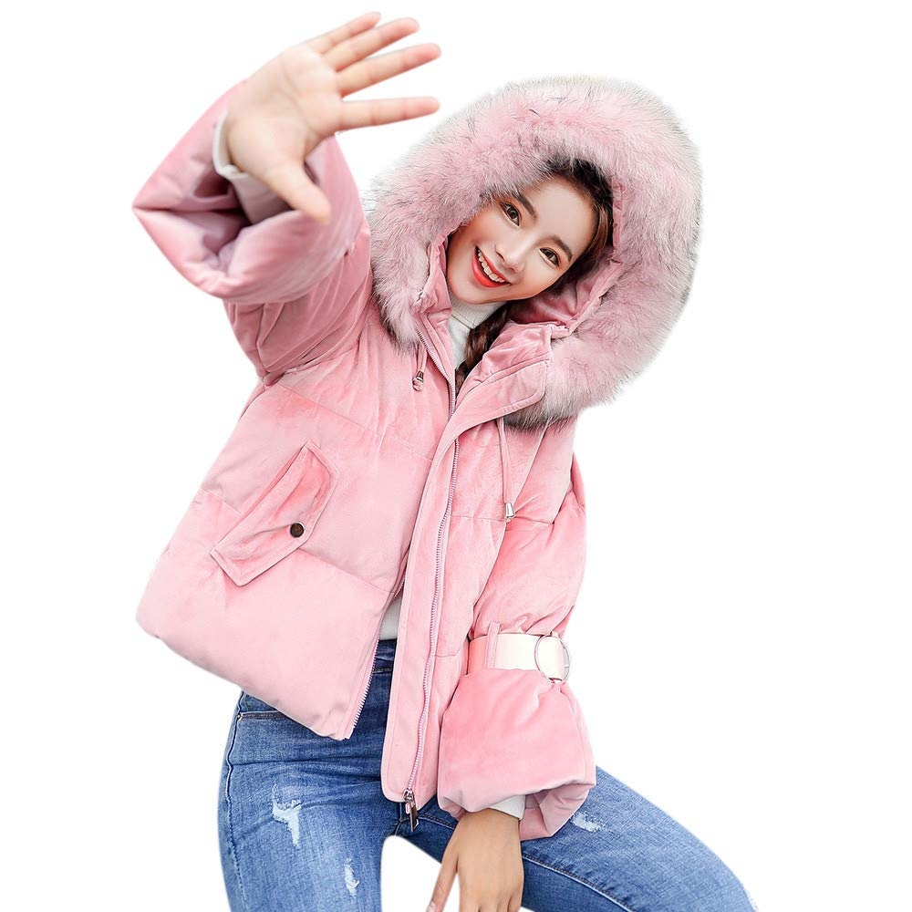 HOOUDO Women Winter Warm Fashion Casual Thick Outerwear Hooded Solid Slim Cotton-Padded Jacket Overcoat Coat