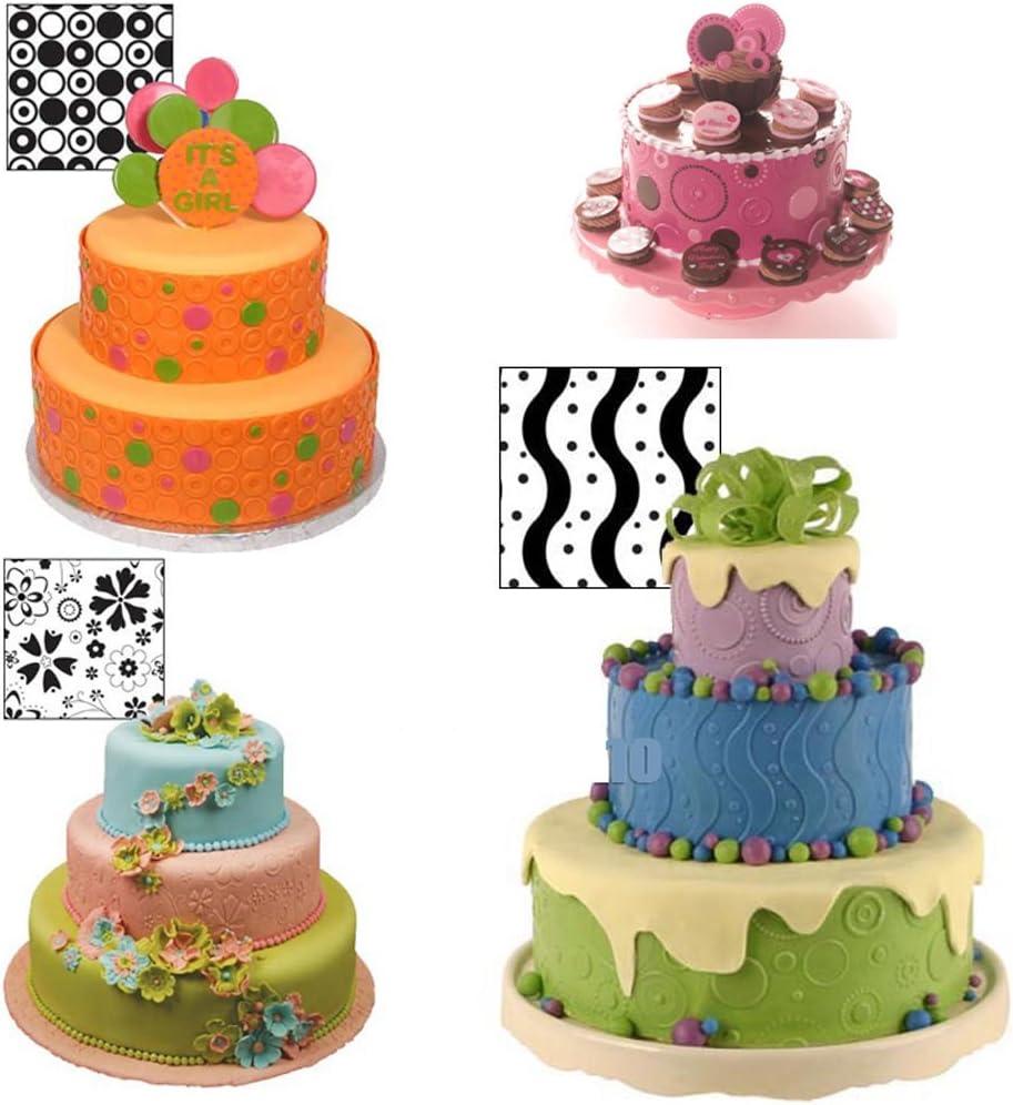 conjunto de 6 Fyuan Hoja de textura de pl/ástico moderno Fondant Set herramienta de bricolaje para decorar galletas cupcakes o crear acentos para pasteles