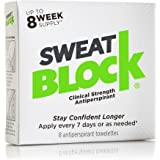 SweatBlock Antiperspirant - As Seen on Rachael Ray - Reduce Sweat up to 7 Days per Use - 8 Packets