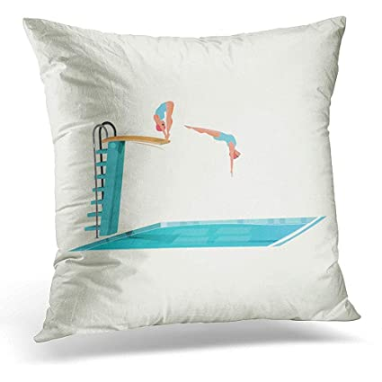 Throw Pillow Covers Blue Pool Sport Women Standing on Diving Board  Preparing to Jump and Dive 93cb66db7