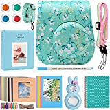 Katia Camera Accessories for Fujifilm Instax Mini 9 or Mini 8 Instant Film Camera- 8 in 1 Bundle. Fuji Case Ice Blue with Strap, Photo Album, Frame, Selfie Len, Filters, Stickes & more - Flower.